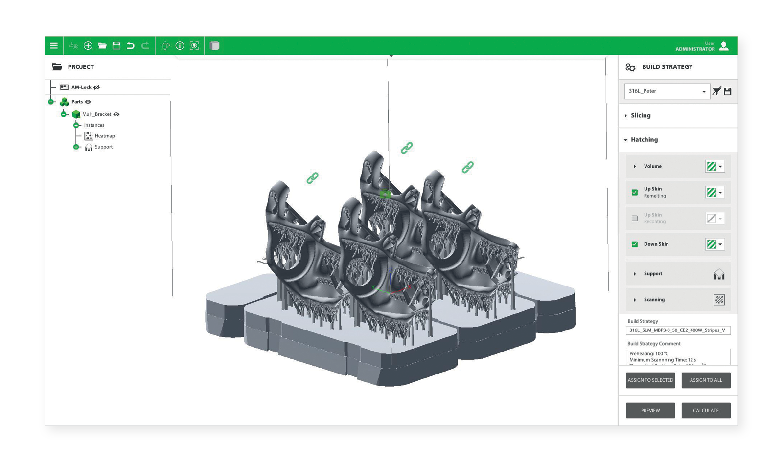 AM-Studio screenshot of build strategy